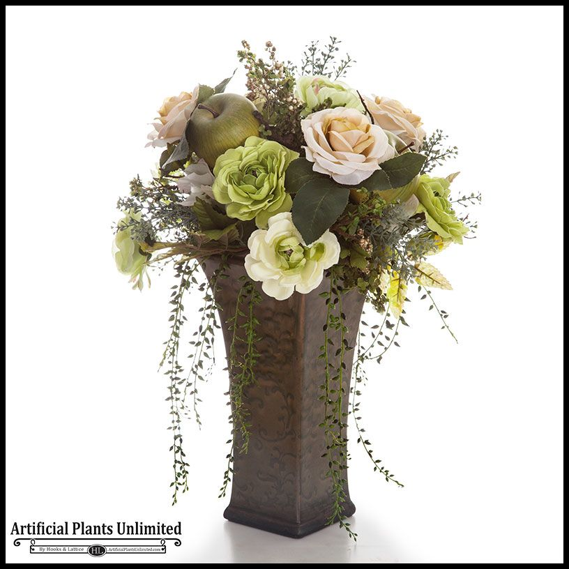 Elegant Mixed Flower Rose Trailing Arrangement In Tall Ceramic Vase