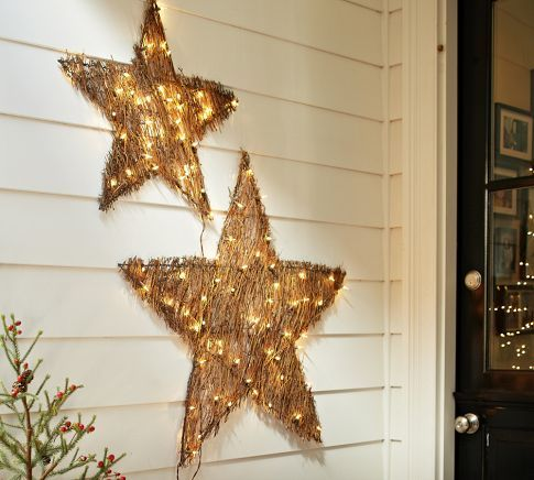 Rustic Perfect Little White Lights Lit Twig Star