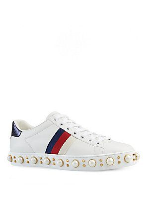 be848a4c281 Gucci Gucci New Ace Faux Pearl Studded Leather Low-Top Sneakers ...