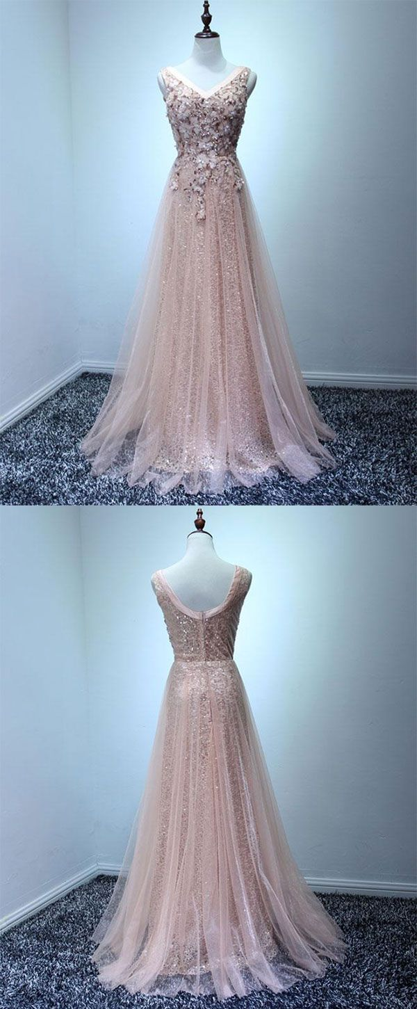 Light pink tulle swquins long prom dress, evening dress | Pink tulle ...