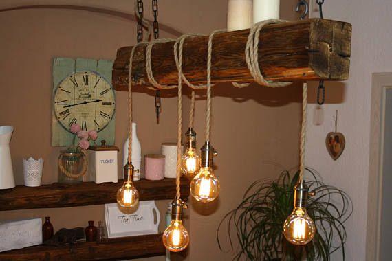 Lieferumfang 1 X Rustic Bar Lamp 5 X Edison Light Bulb Model G80 Type E27 220 240v 40w 2 X Ornamental Chain Stee Holzbalken Lampe Lampen Esstischlampe
