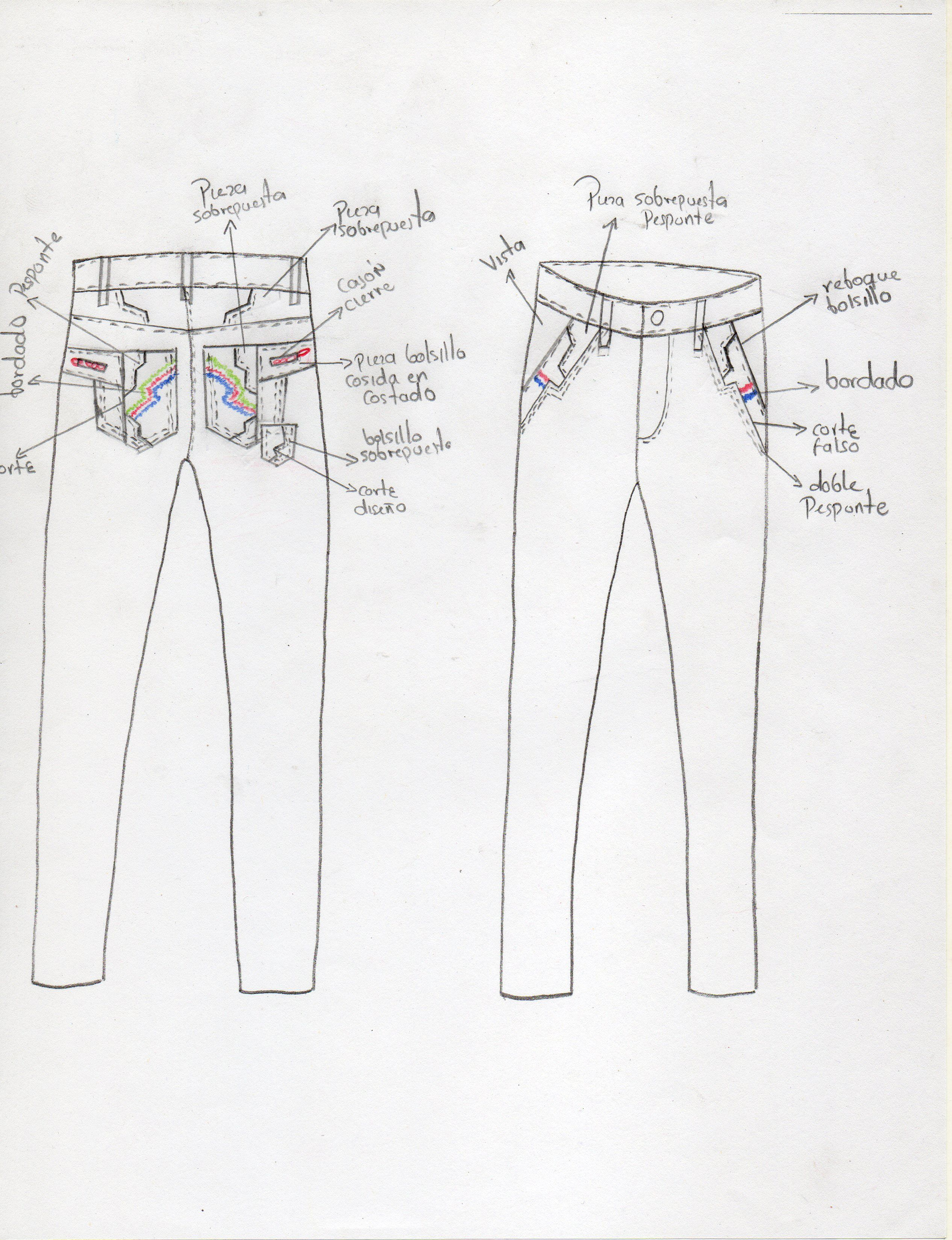 diseño de #pantalon #jeans para hombre para crear el molde ...