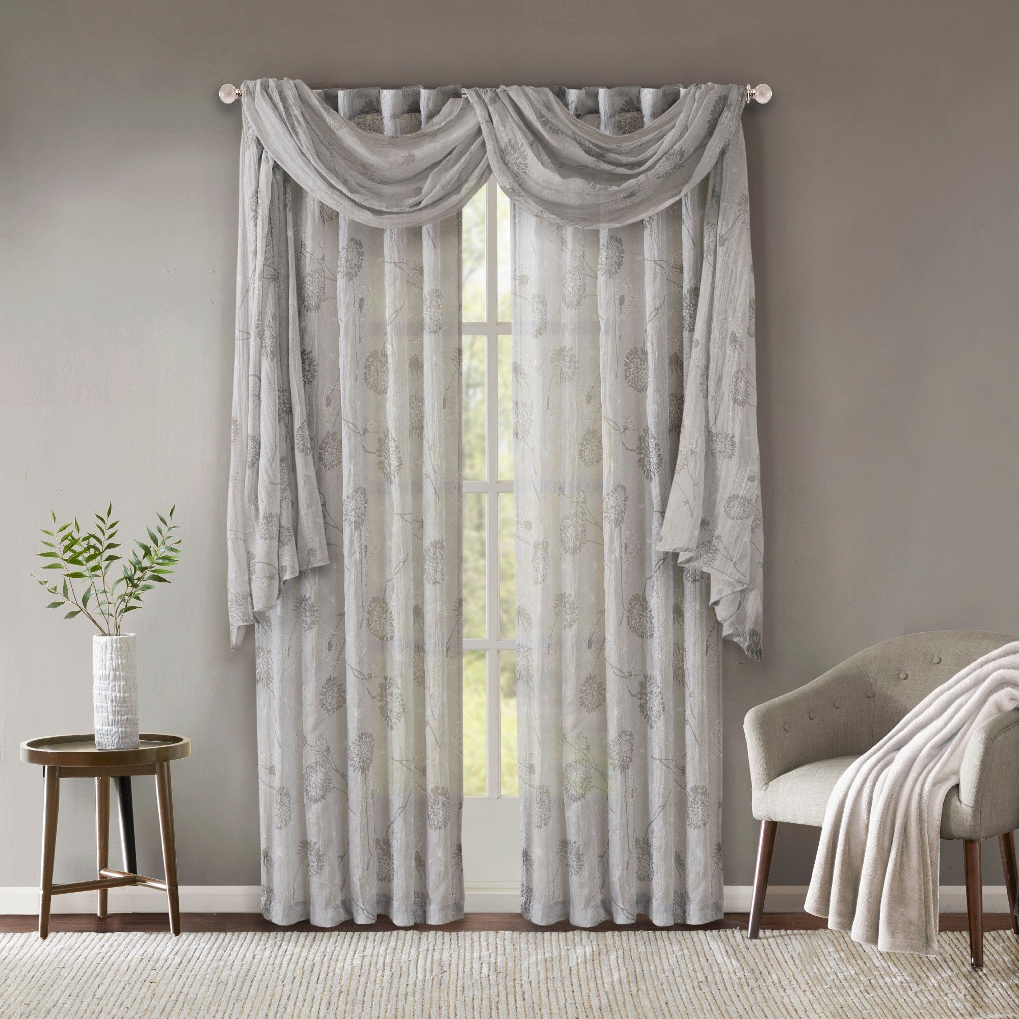 Aer Printed Crushed Scarf Sheer Gray 42x144 Curtains Dining