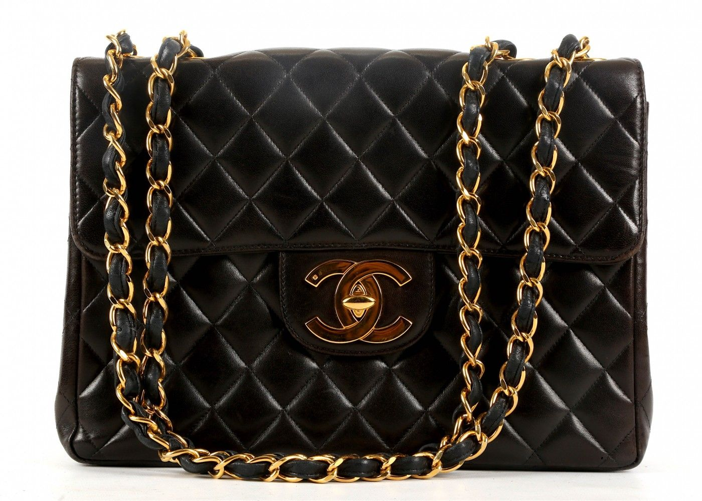 d4bbbbd3bf11 CHANEL JUMBO FLAP BAG, datecode for 1997-1999, quilted black lambskin with  gilt metal hardware, 30cm wide, 20cm high, with authenticity card and dust  bag