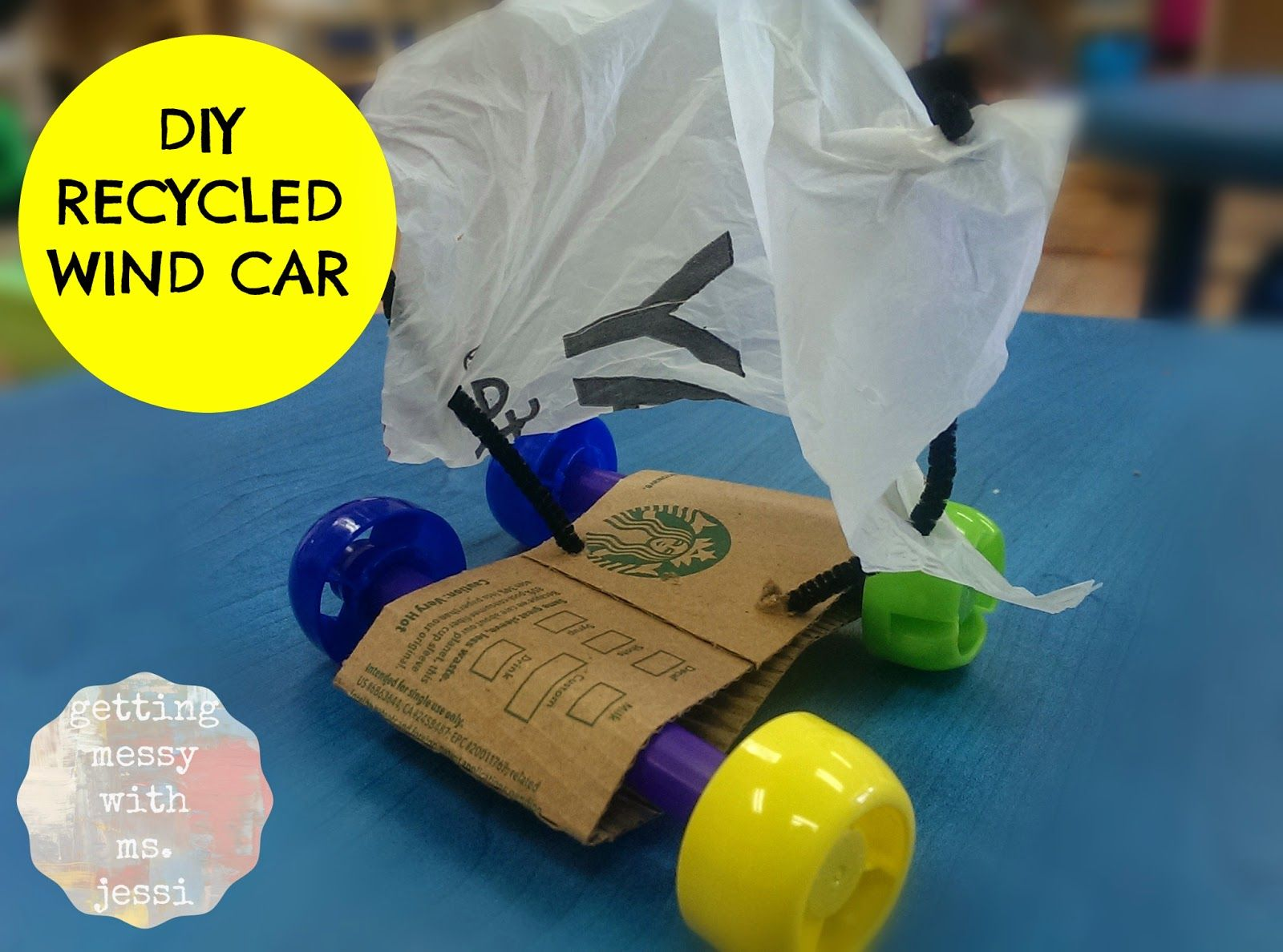 Getting messy with ms jessi diy wind car made by kids for Plastic project ideas
