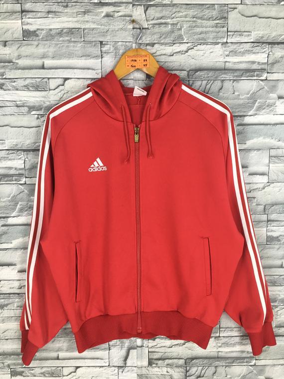 ADIDAS Hoodie Jacket Large Women Vintage 90's Adidas