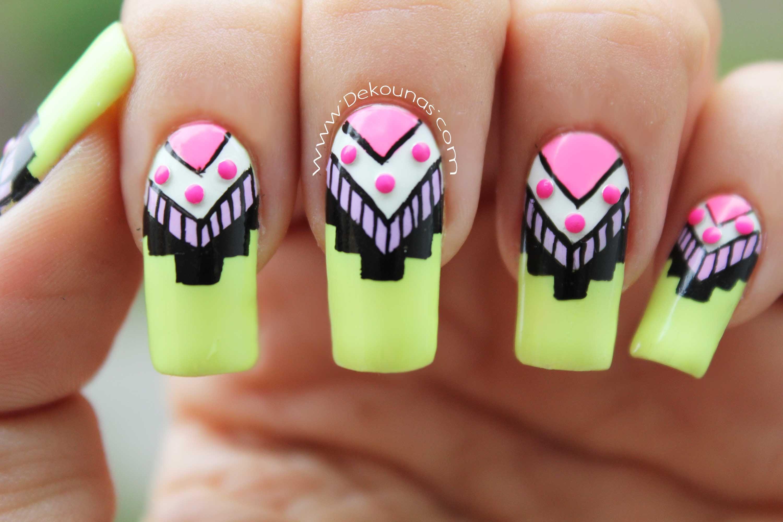 Decoración de uñas tribal - Tribal nail art by Deko Unas by Diana ...