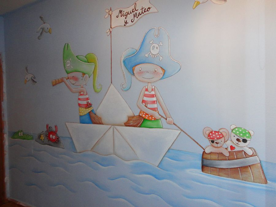 mural infantil habitacion piratas dibujos lindos