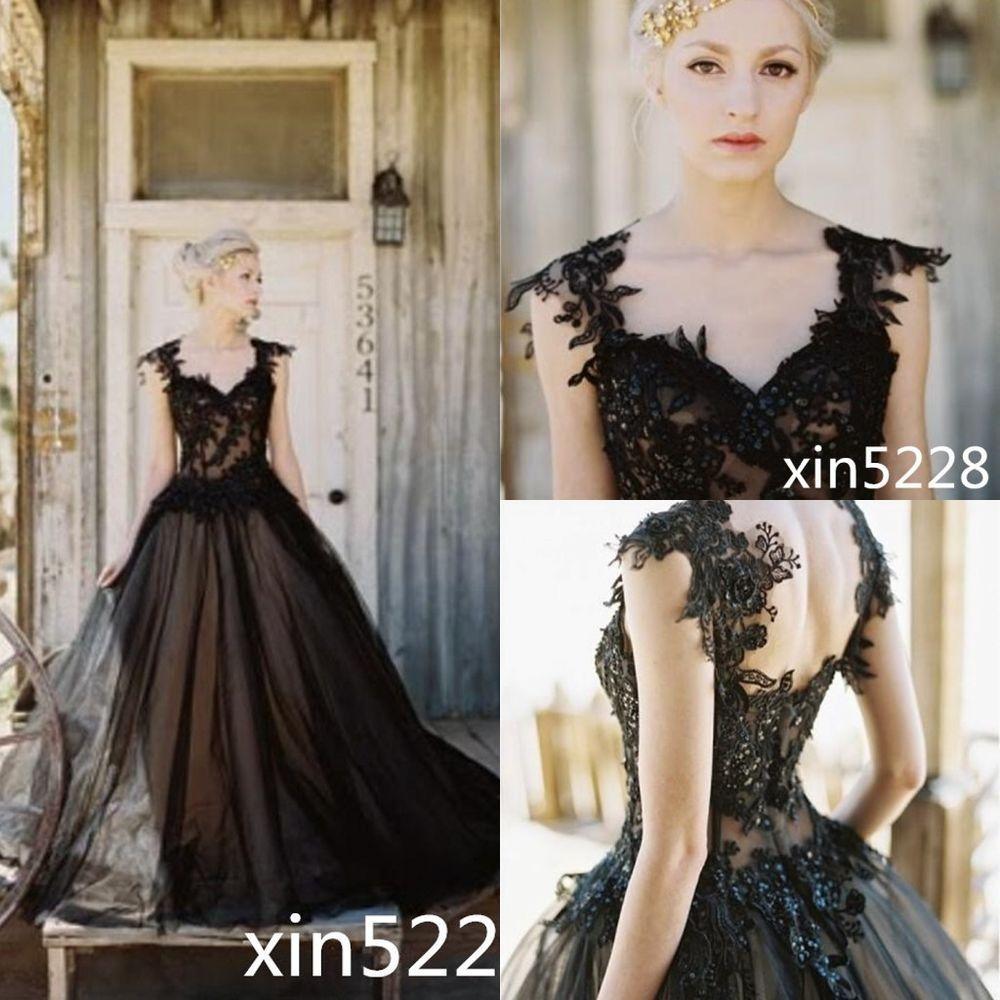 2017 Gothic Vintage Backless Black Wedding Dress A line Bead Sequins ...