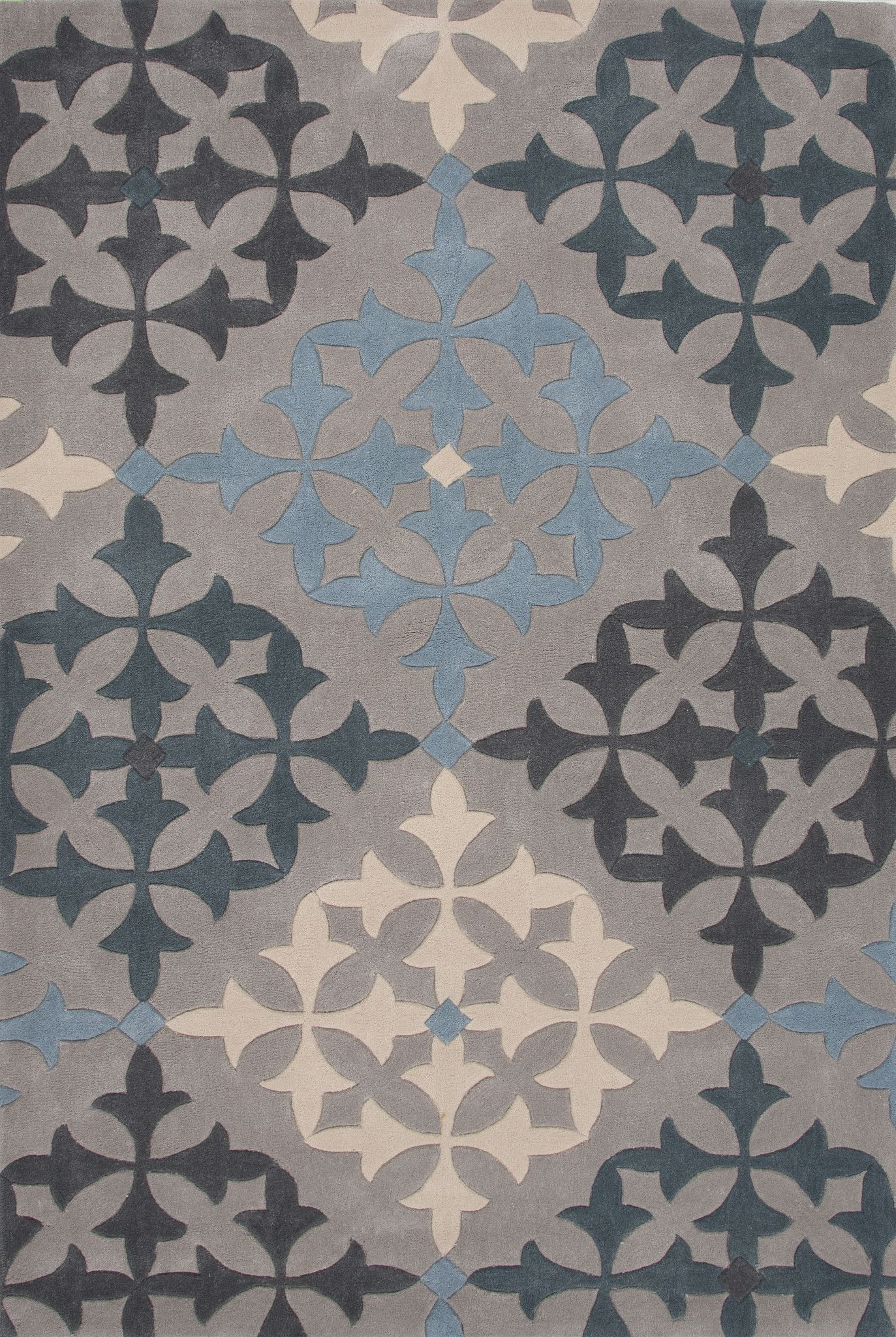 Jaipur Rugs Modern Geometric Pattern Grayblue Polyester Area Rug Her03