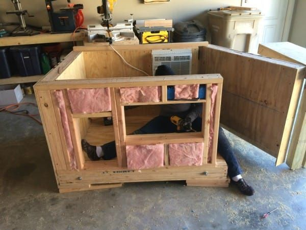 He Can T Fit Into The Tiny House He S Building When I Saw Why I Squealed Insulated Dog House Pallet Dog House Cool Dog Houses