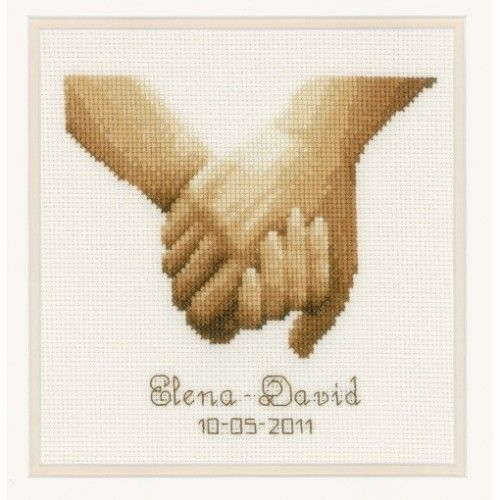 This counted cross stitch wedding announcement design from Vervaco features a couples hands stitched in sepia tones. Space for names and a date below.  Kit contains: fabric, thread, needle, chart and instructions.  Type: Counted cross stitch kit.  Fabric: 14 count ecru aida  Size: 19cm x 16cm.