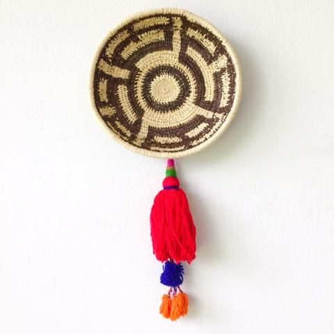 Wall Basket | Chunga Round - Red Pieces $85 Copper and Cross