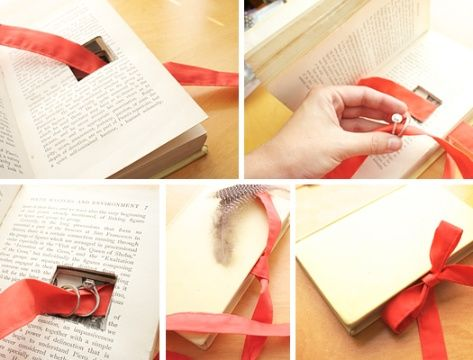 DIY Vintage Book Ring Holder Ring holder wedding Wedding ring