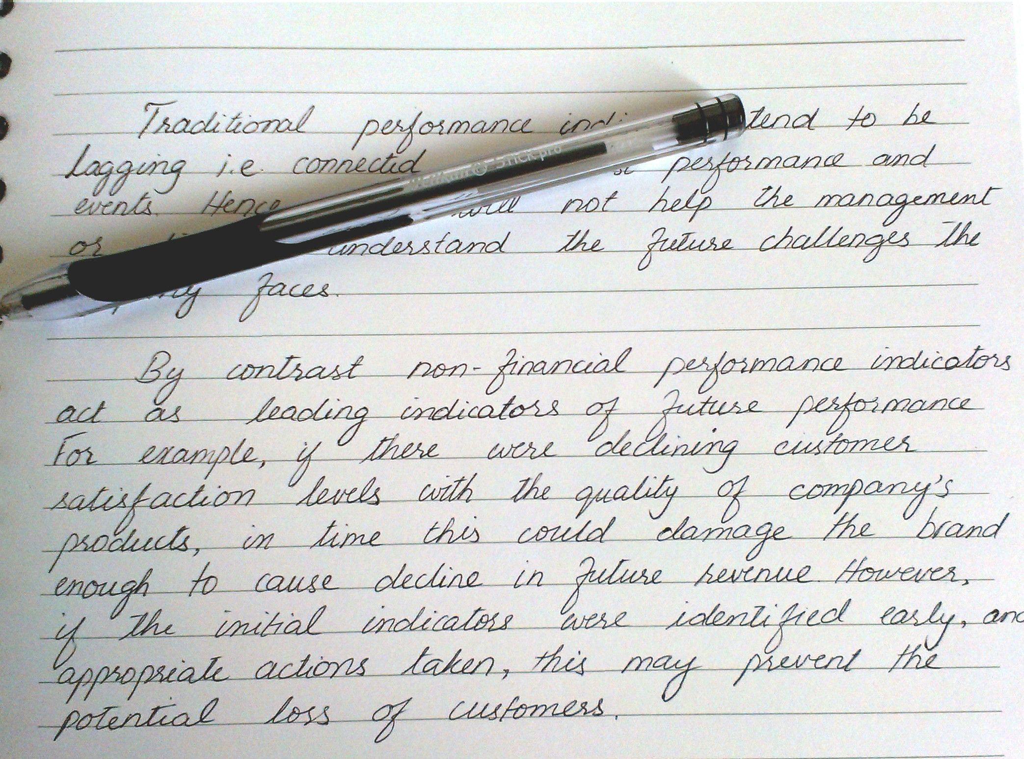 Beautiful Handwriting On A Financial Report