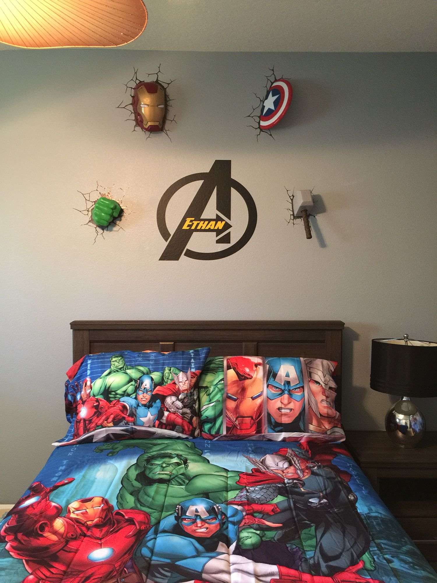 Avengers wall decor  Marvel bedroom, Marvel room, Superhero bedroom