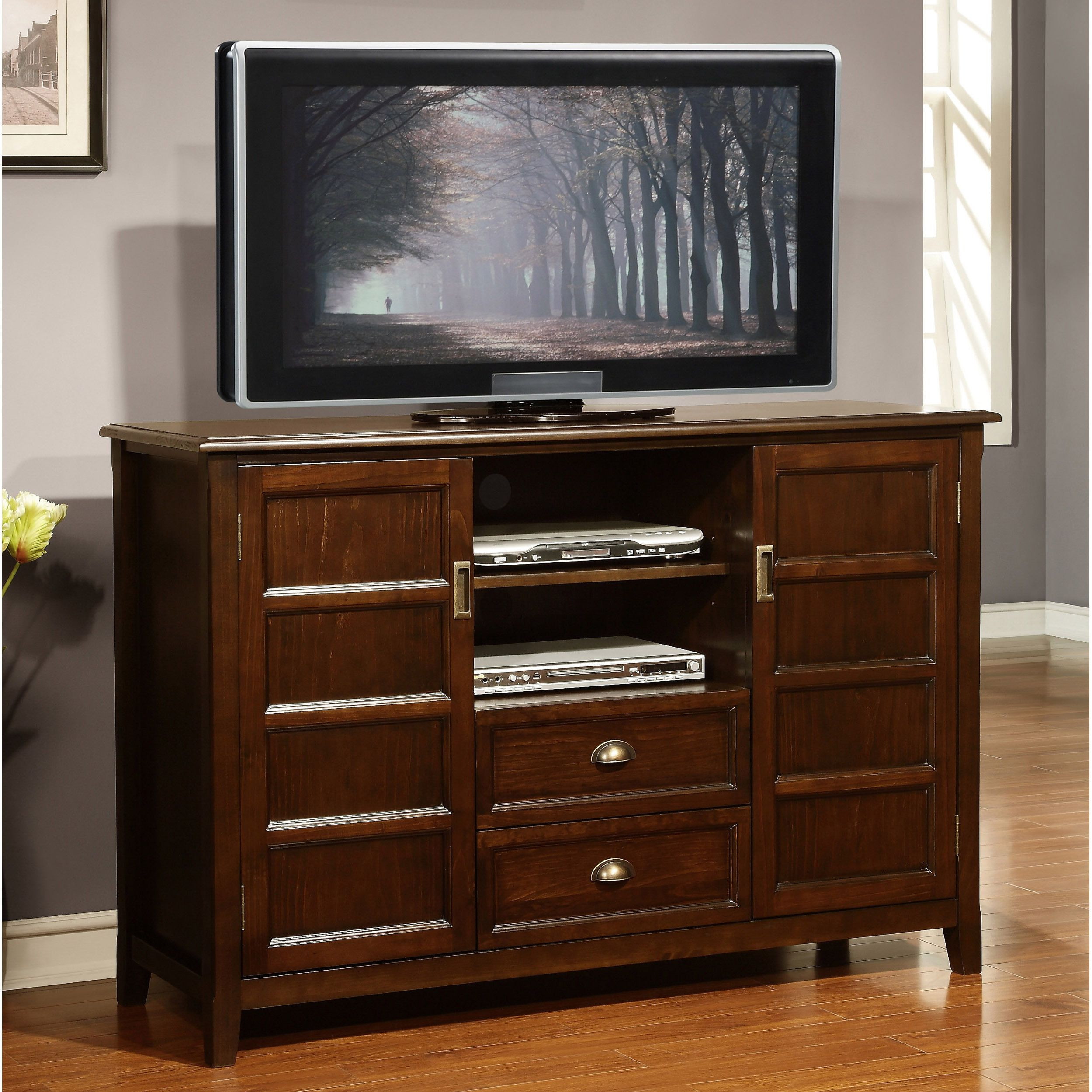Portland Collection Espresso Brown Tall TV Stand   Overstock.com ...