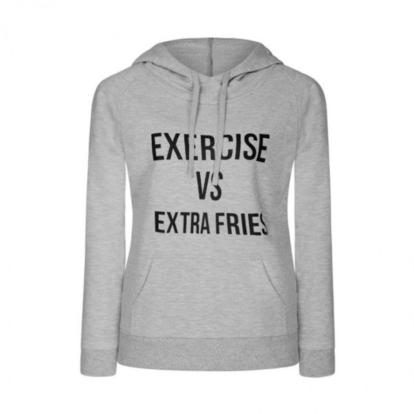 Ally Fashion Extra fries hoodie (€13) ❤ liked on Polyvore featuring tops, hoodies, l grey, hoodie top, grey hoodie, grey top, gray top and gray hooded sweatshirt