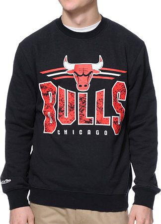 NBA Mitchell and Ness Chicago Bulls Black Crew Neck Sweatshirt  4485b2dd024