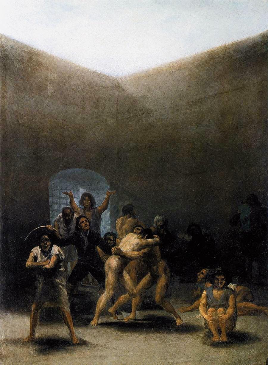 """Francisco de Goya: """"Corral de locos"""". Oil on tin plate, 43 x 32 cm, 1794. Meadows Museum, Dallas, Texas, USA"""