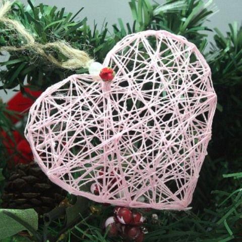 Romantic DIY String Heart Ornament | Shelterness