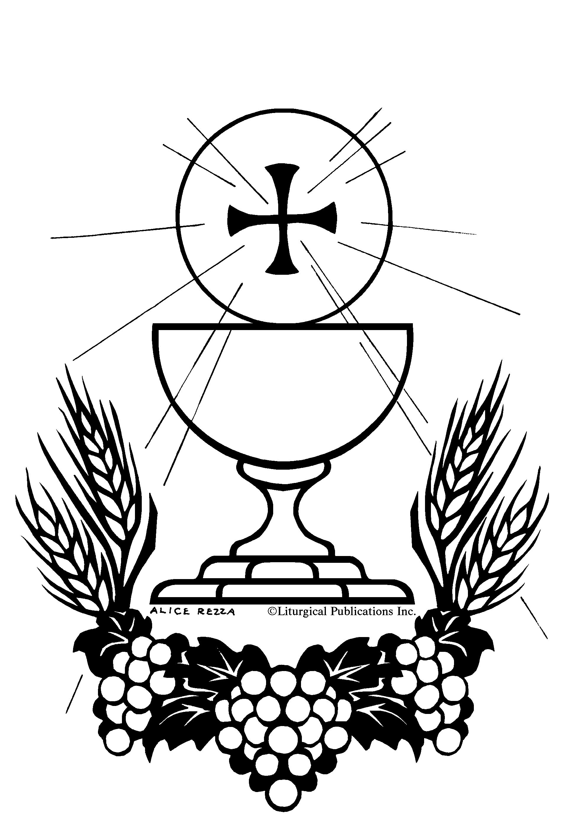 holy eucharist and rosary catholic coloring page catholic