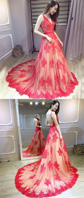 Red Prom Dress,V-Neck Prom Dress,Straps A-Line Prom Dress,Lace Prom ...