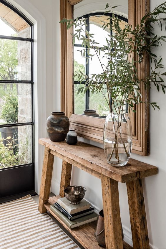 Photo of Angela Wheeler Design – Entrance with wooden mirror and console table, iron… Metal furniture #woodworkings – wood workings bedroom