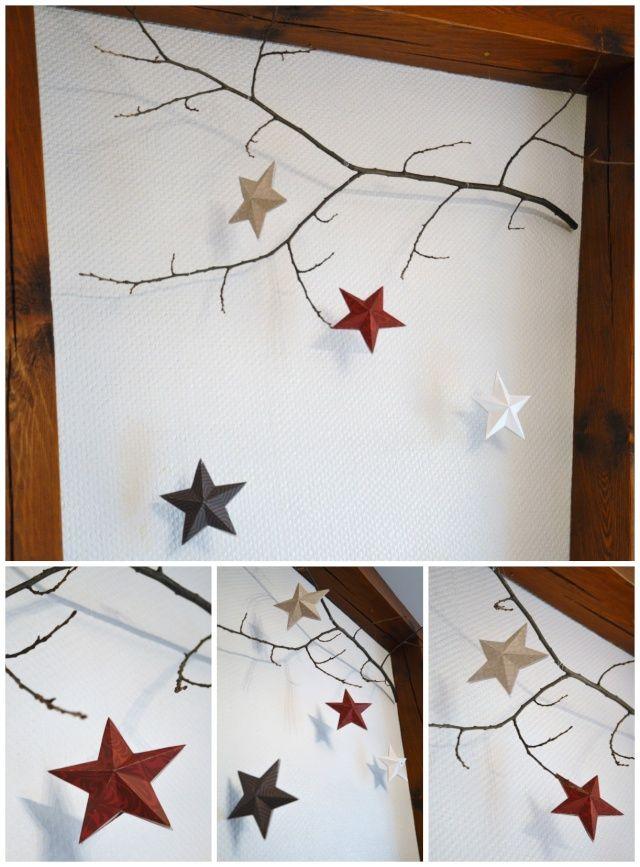 un mobile branche et toiles origami pour la d co de no l home decor christmas crafts xmas. Black Bedroom Furniture Sets. Home Design Ideas