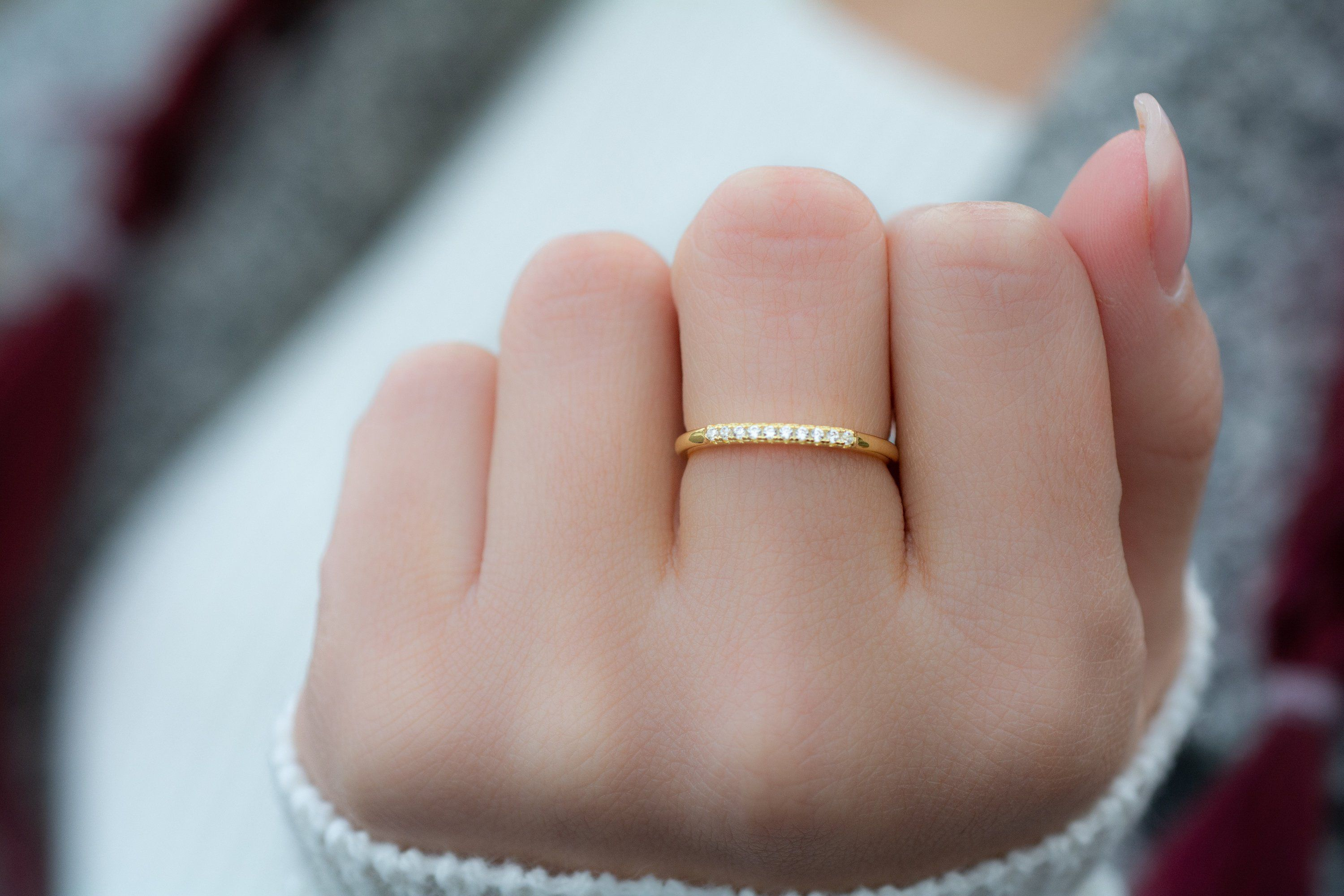 Vermeil White Gold Dainty Rose Gold Minimalist Stacking Ring Thin Sterling Silver Ring Thin Gold Ring 925 Cubic Zirconia 14K Gold