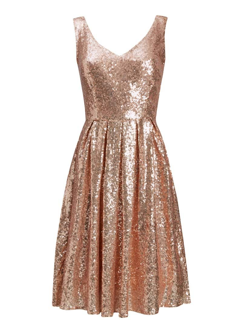 The Uma Rose Gold Sequin Dress is ideal for a Christmas party or ...