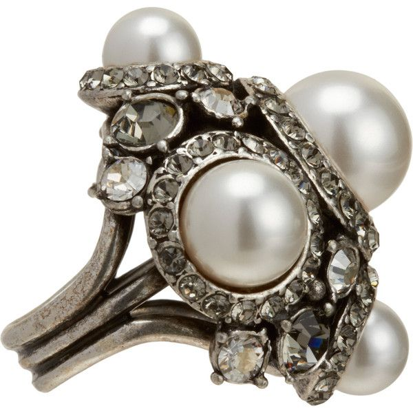Lanvin Pearl & Crystal Bridal Ring (2.215 BRL) ❤ liked on Polyvore featuring jewelry, rings, band jewelry, bridal jewellery, pearl jewelry, pearl band ring and bridal jewelry