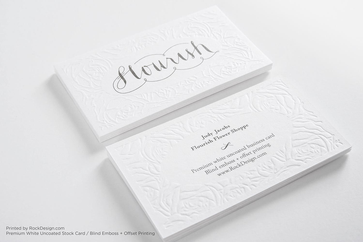 White #Emboss – Floral lace elegant white fashion business card ...