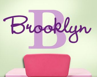 Girls Monogram Vinyl Wall Decals Name Initial For Your Bedroom - Custom vinyl decals brooklyn