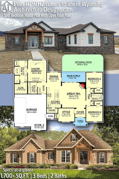 Architectural designs bed house plan hz client built in reverse wyoming beds baths sq ft ready when you are also split bedroom with open floor rh pinterest