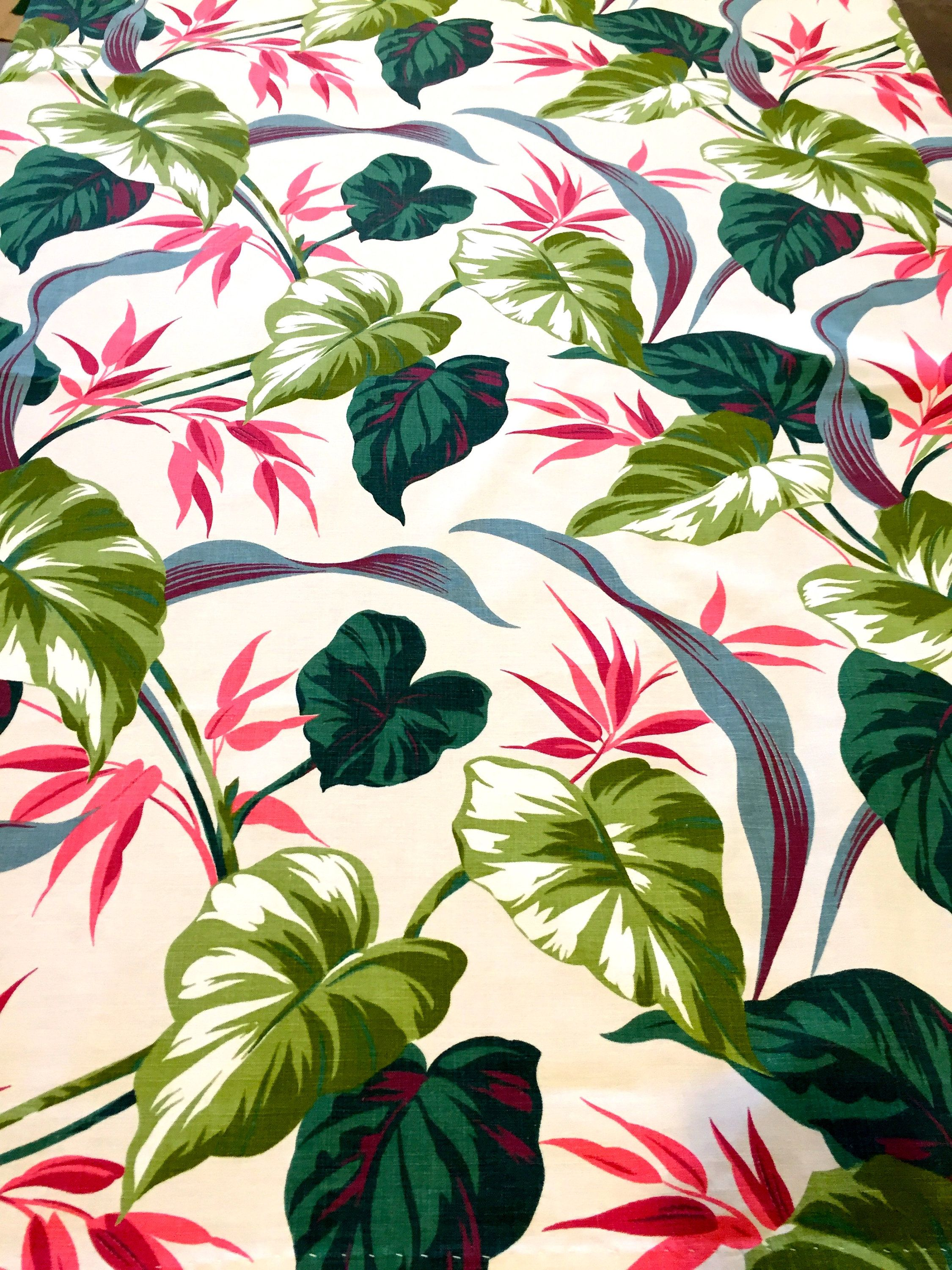 Fantastic 40s Tropical Barkcloth Era Fabric In A Stunning Color Palate//  Cotton Yardage/