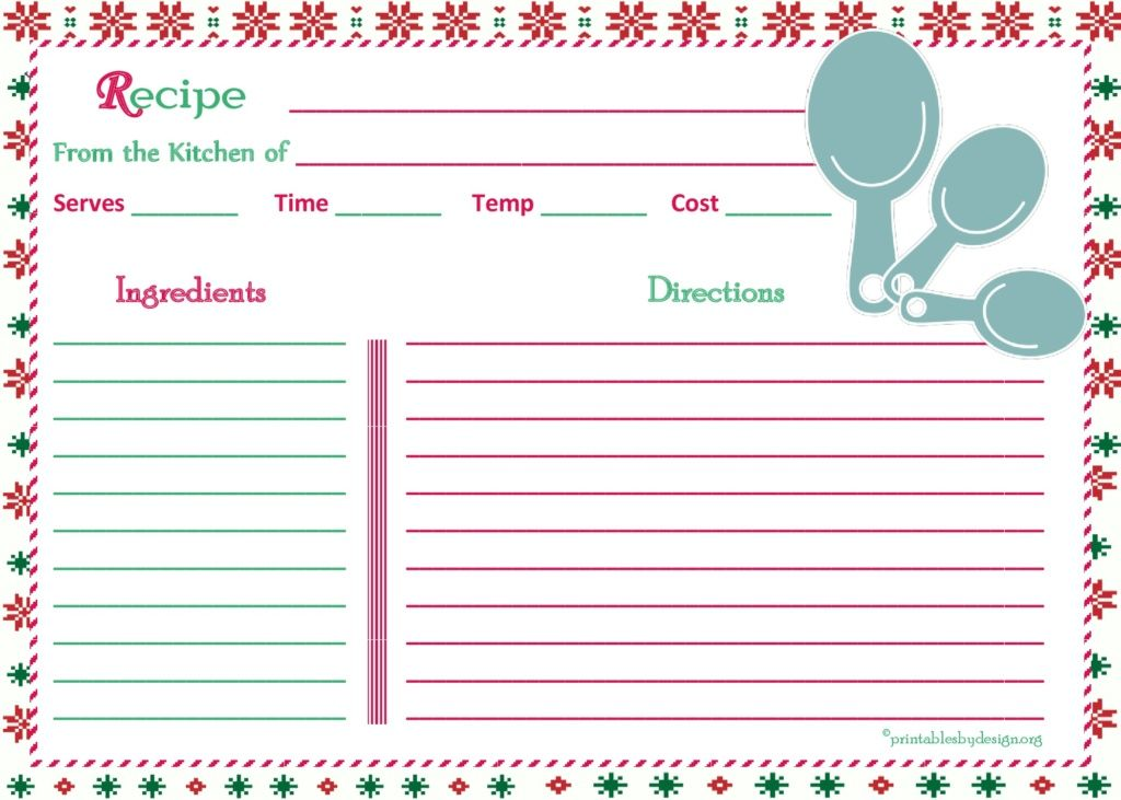 christmas-pattern-background-recipe-card-5x7 レシピカード - recipe card