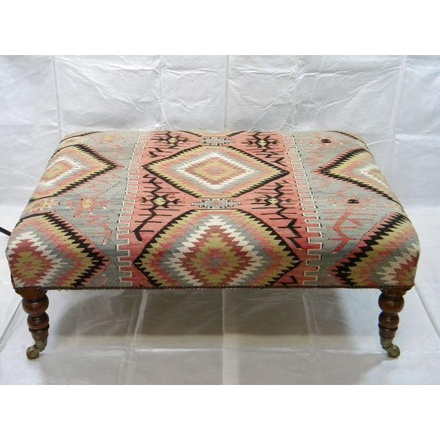 Image Of Vintage Kilim Rug Ottoman Kilim Ottoman Patterned