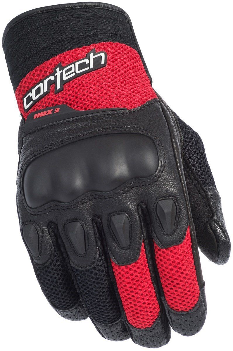 Cortech hdx 3 glove black red leather motorcycle gloves