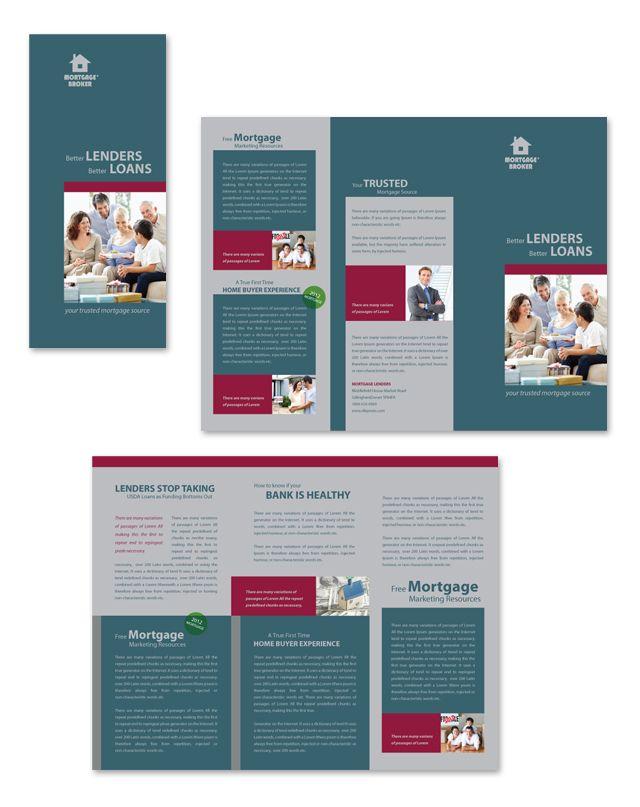 Mortgage Lenders Tri Fold Brochure Template Creative Brochure - Brochure templates tri fold