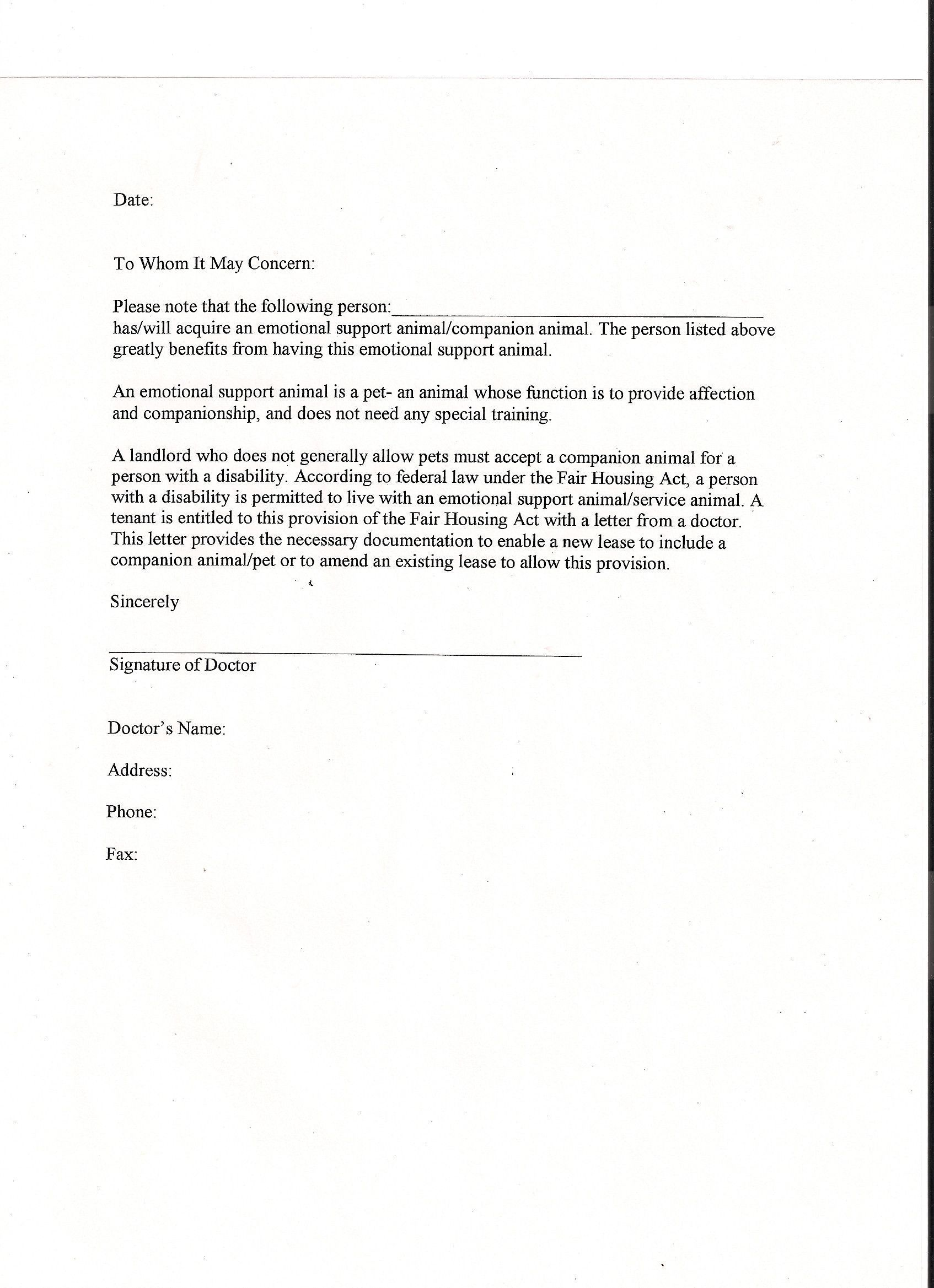 Emotional Support Animal Letter Template Best Panion Animal Letter