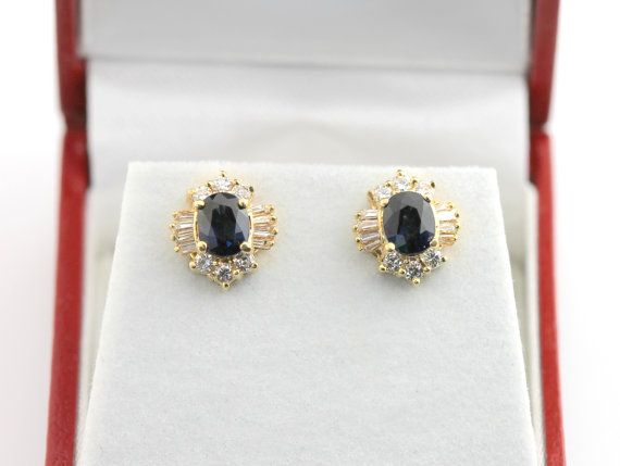 Sapphire and diamond estate earrings