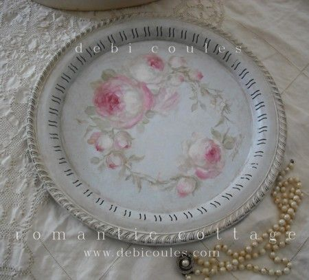 So pretty this vintage  hand painted roses tray available at www.debicoules.com