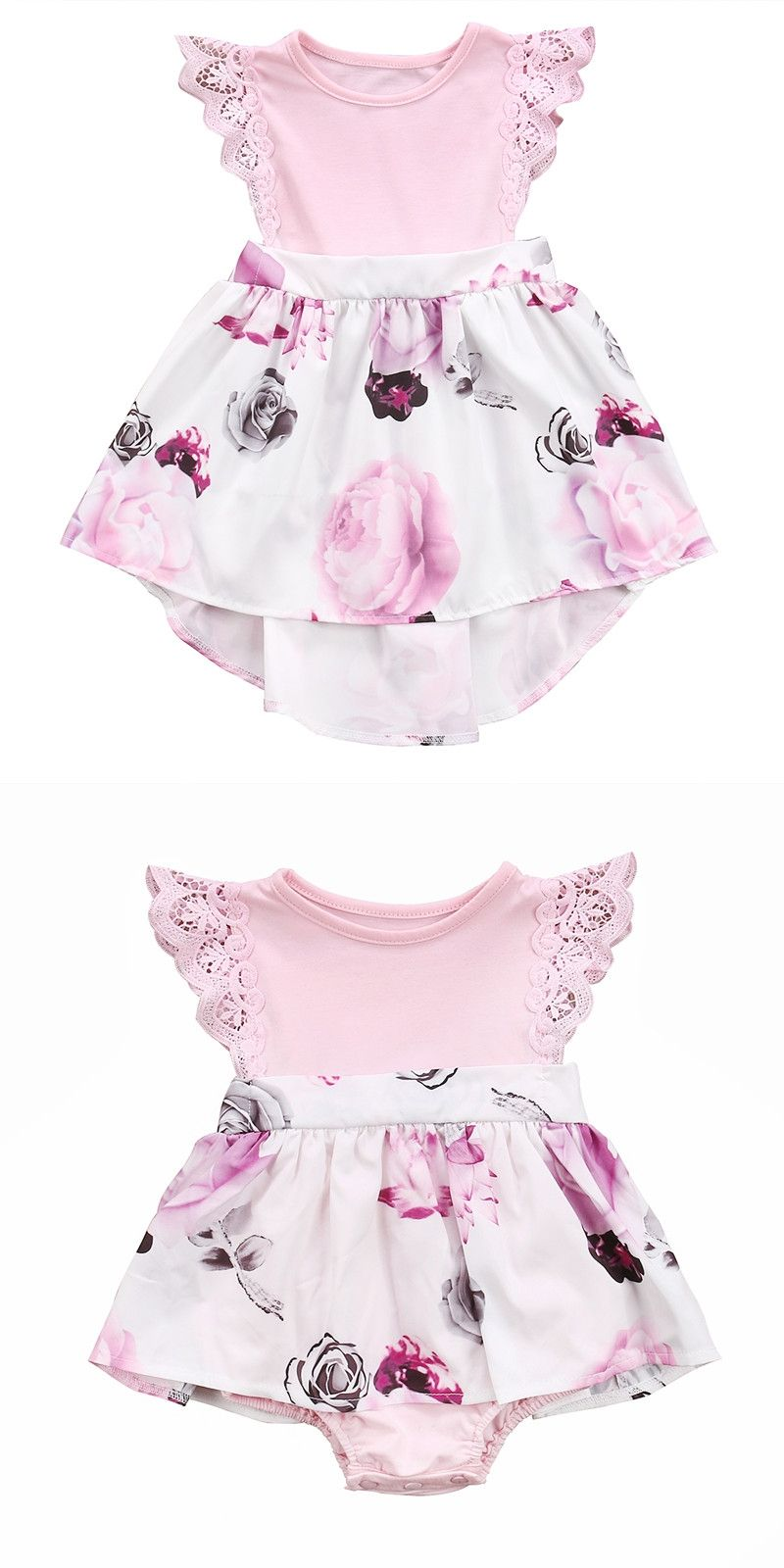 6df33cce4f77 Family Sister Floral Matching Clothing Newborn Baby girls Kids lace Summer  Floral Romper  Dress clothes outfits