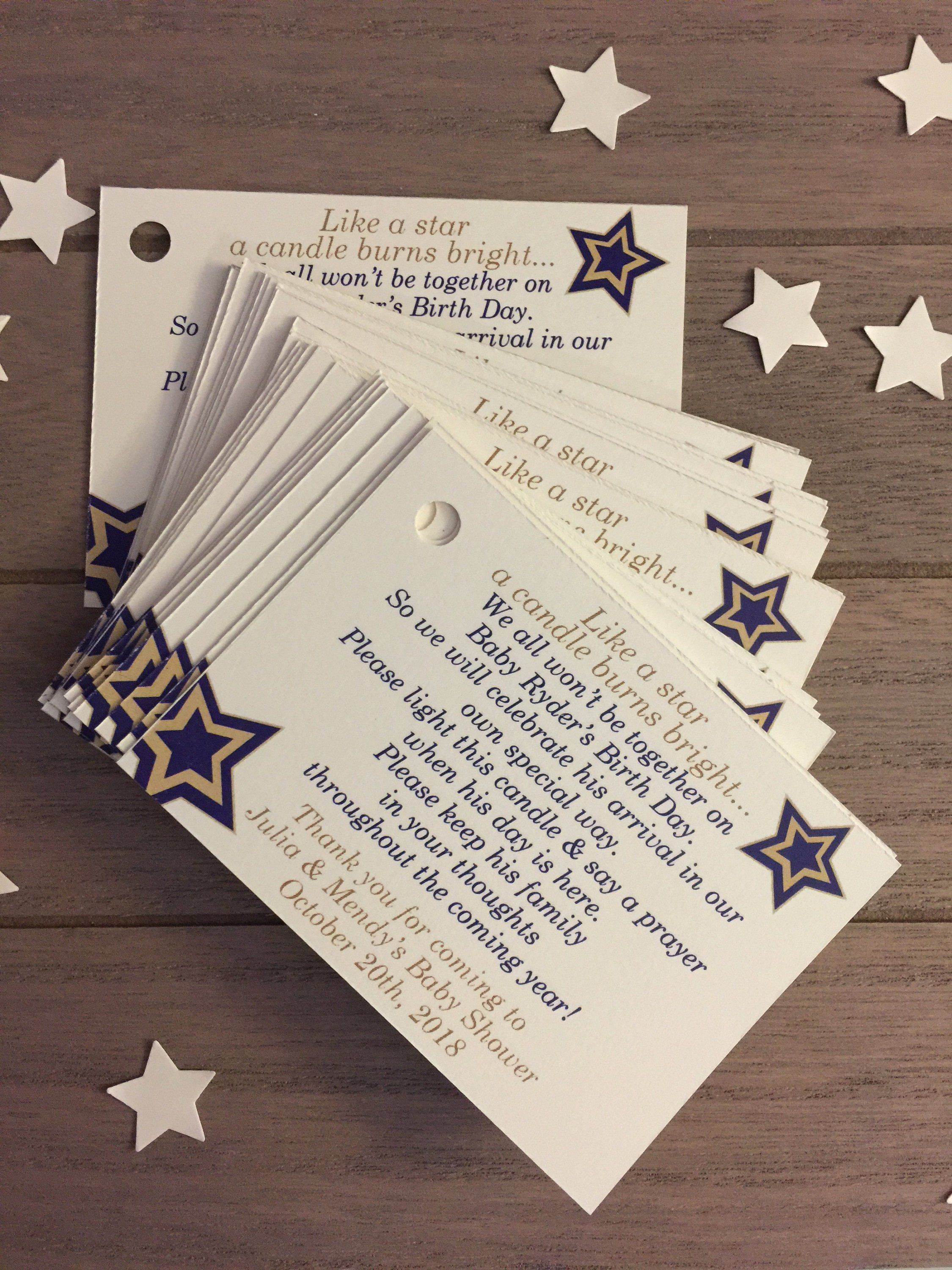 Candle Or Tea Light Favor Tag For Star Themed Baby Shower Baby Shower Candle Favors Tea Lights Candles