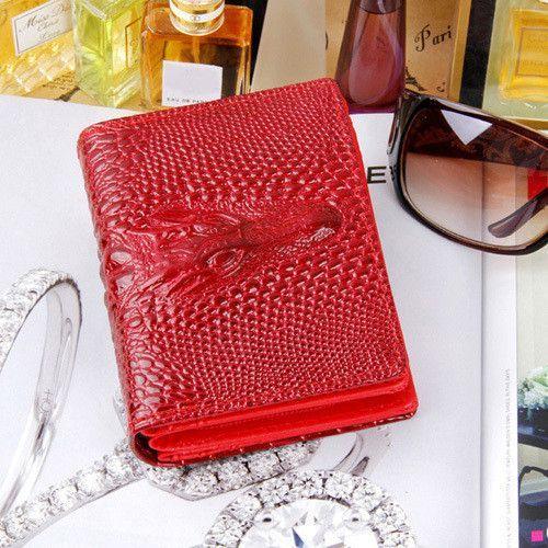 Fashion Upscale Brand Women Wallet Alligator Head Grain Short Bright Pu Leather Card Holder Clutch Purse Wallets Free Shipping