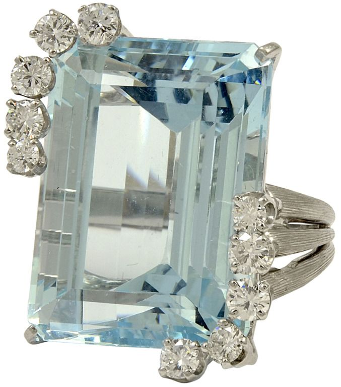 1950's Diamond and Aquamarine White Gold Ring   From a unique collection of vintage cocktail rings at http://www.1stdibs.com/jewelry/rings/cocktail-rings/