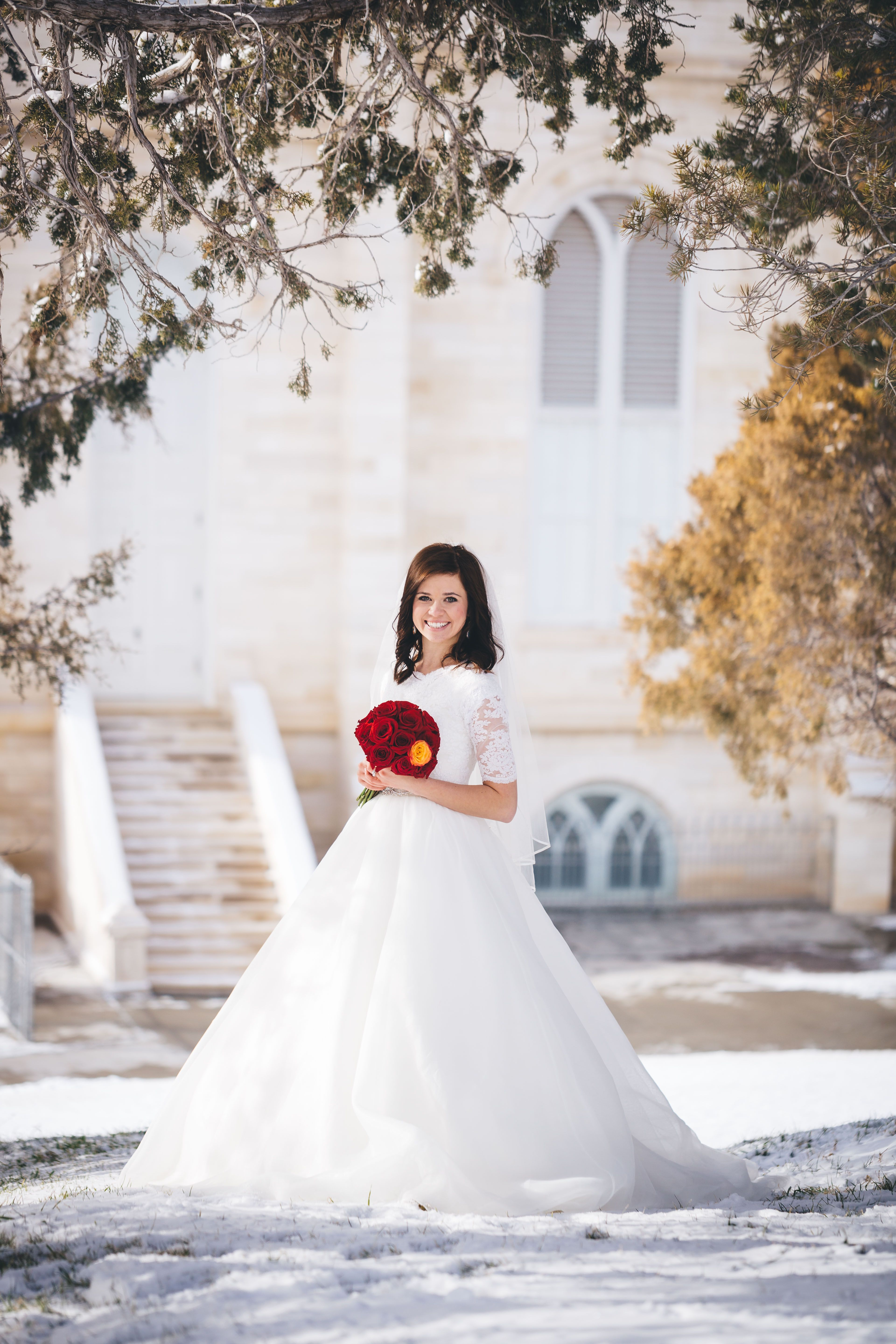 Cheap red and white wedding dresses  Manti Temple LDS Bride Winter Wedding Red White Grey Jordan