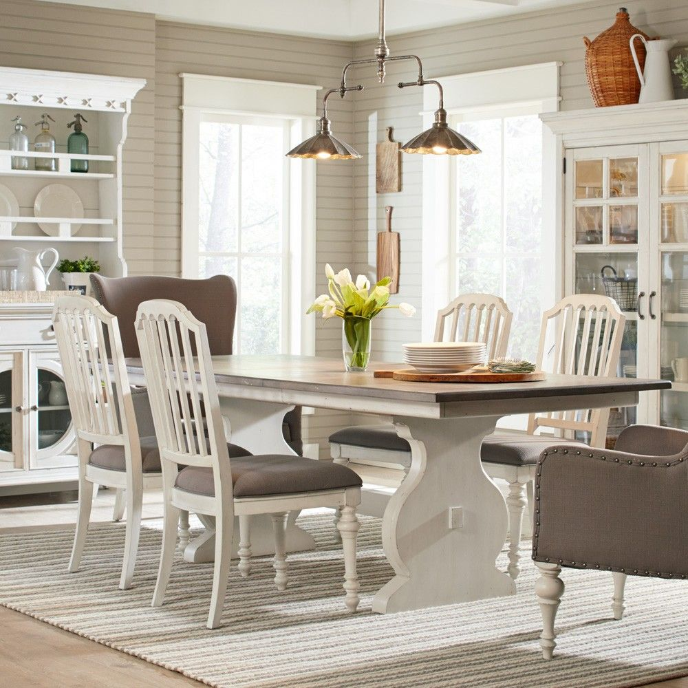 Hancock Park Wood Trestle Table In Vintage White By Magnussen Home