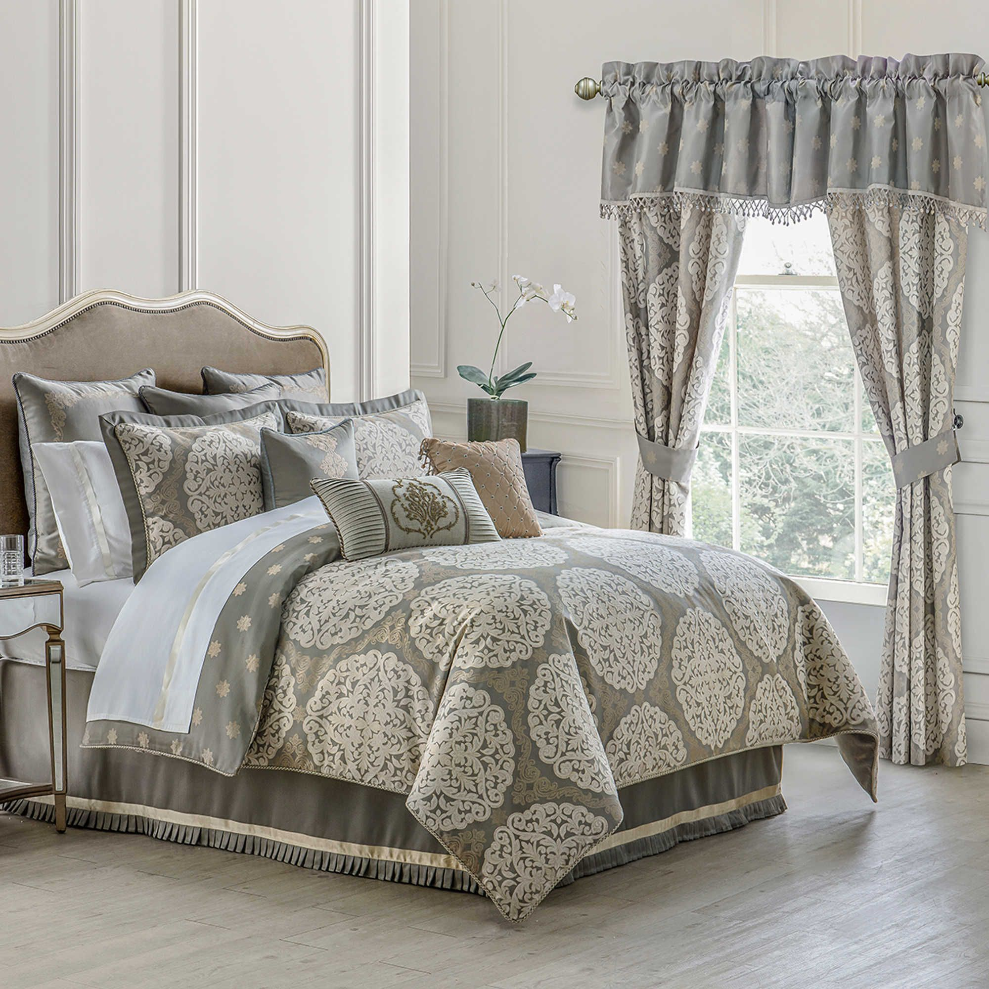 linen oversized set today bath shipping dearly chic home overstock free and silver overfilled product comforter piece bedding